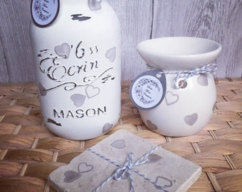Full set!!!! Hand decorated Large jar, wax warmer and stand