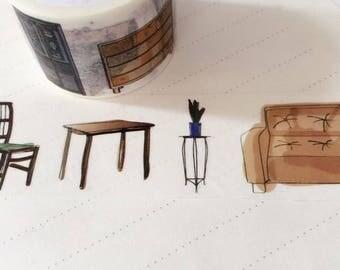 Furniture Washi Tape, Various Furniture Decorative Tape, Table Washi Tape, Chair Washi, Furniture Doodle Washi Tape