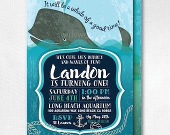 Whale Nautical 1st Birthday Invitations, Whale 1st Birthday Invitations, Nautical Whale 1st Birthday Invitations for Boys,, DI-369FC