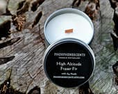 High Altitude Fraser Fir Scented 8 oz. Soy Wax Wood Wick Candle Tin