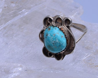 Turquoise ring with sterling silver setting - 160