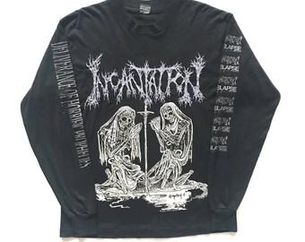 1993 Incantation vintage band T-shirt long sleeve - L - Gorguts, Immolation, Autopsy,  Deicide, Dismember, entombed, Morbid Angel