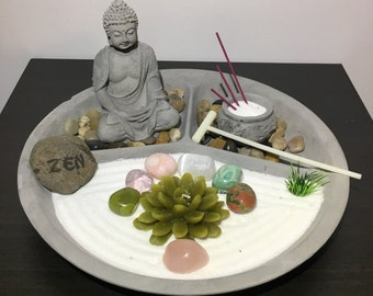 Love and Relationships Crystal Bhudda Meditation Zen Garden for Home or Office