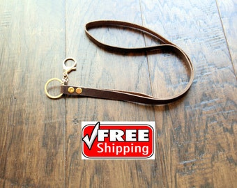 Crazy vintage  leather lanyard with golden metal clasp. Genuine top grain crazy leather lanyard / keyholder. Free and fast shipping