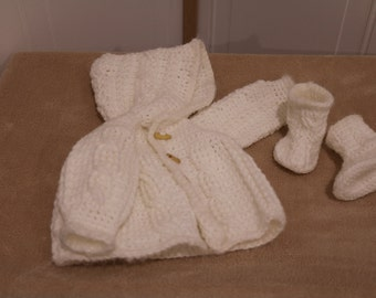 White Hooded Cardigan with Booties for 0 to 3 months old.