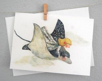 watercolor painting handmade folder card