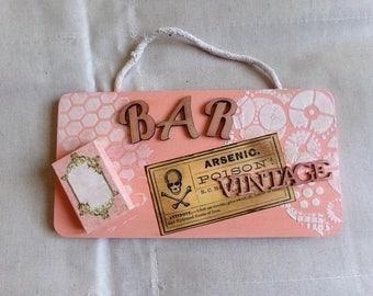 """""""Bar Vintage"""" wooden door plate"""