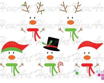 NEW Cute Snowman Clipart, Christmas Printables, Snowman Printables, Snowman Stickers, Christmas Stickers, Christmas DIY, Digital Clipart