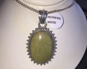 Petrified wood pendant in silver