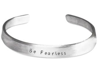BE FEARLESS BRACELET! This lovely silver cuff bangle bracelet Jewelry 100% Handmade in America Beautiful gift wife daughter sister mom