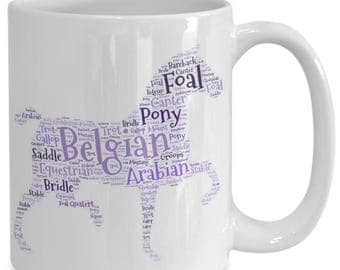 HORSE LOVER MUG! The ideal gift for the horse lover in your life! Word cloud of horse terms on 15 oz white ceramic coffee cup!