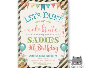 Birthday Paint Party Invitations, Kid's Birthday, 9th Birthday or Any Age, Gender Neutral, for a boy or girl, Lets Paint and Celebrate 178