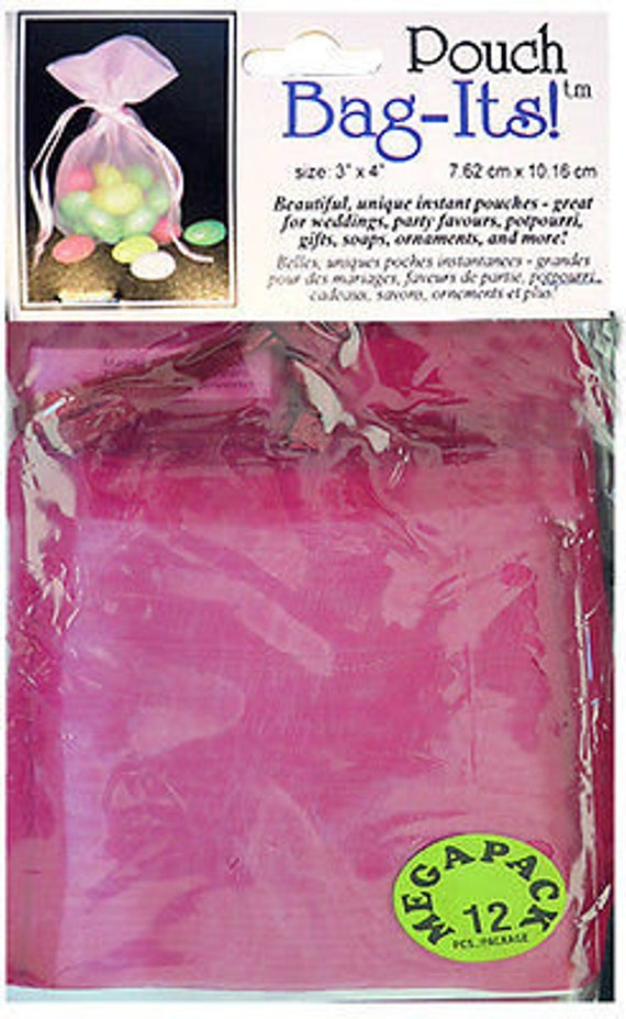 "Sheer Organza Bag-its, 12 pcs 3"" x 4"", rose burgundy **FREE U.S. SHIPPING**"