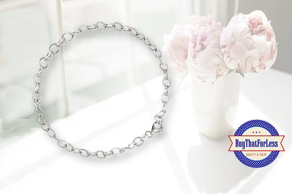 Chain Charm Bracelet, Round Links, clip end +Discounts & FREE Shipping*