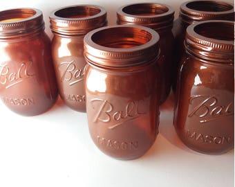 Handmade copper mason ball jars