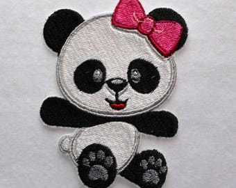 Baby Panda Patch, Panda Bear Applique, Embroidered Panda, Iron On Patch, Applique Patch, Little Panda Bear Patch, Bear Appliqué, Bear