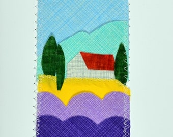 Lavender Fields of Provence Handmade Fabric Card