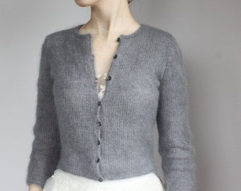 Bridal Fluffy Bolero, Wedding Kate Middleton Sweater, Grey Mohair Hand Knit Shrug, Wedding Cardigan, 3/4 Sleeve Sweater, Cover Up Mohair
