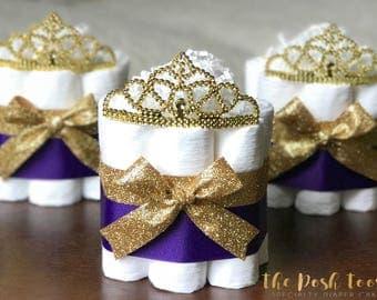Royal Purple Princess Diaper Cake, Baby Shower Decor Centerpiece Present, Little Princess Purple and Gold Tiara Crown Girl, ONE Mini 1 tier