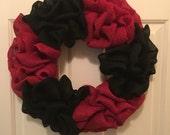 Red and Black Burlap Wrea...