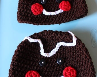 Crocheted Gingerbread Boy and Girl Hats, Sold Separately or as a Set