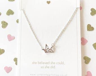 Origami Bird Necklace - Silver