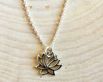 Lotus Necklace,  Flower Necklace, Sterling Silver Necklace, Lotus Jewelry, Tiny Lotus Necklace blooming flower, yoga necklace, Minimalist