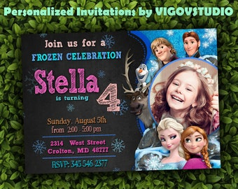 Frozen Birthday Invitation-Frozen Invitation--Frozen Birthday Party Invites-Winter Invitation-Elsa Invitation- Disney Party-Frozen Party