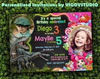 Double Birthday Party Invitation-Dinosaur and Shopkins Dual Party Invitation-Dinosaur  Invitation-Shopkins Invitation-Twins  birthday
