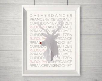 Rudolph - Reindeer PRINTABLE Christmas Wall Art!