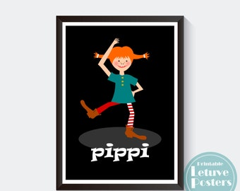 "PIPPI LONGSTOCKING LANGSTRUMPF - Nursery Poster - Girls Kids Room - Wall Art ( A3/ A4/ 8""x10""/ 11""x14"")"