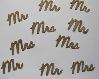 Kraft Mr & Mrs Confetti - Rustic Wedding Decorations - Mr and Mrs Wedding Decorations - Rustic Bridal Shower Decorations - Kraft Paper Decor