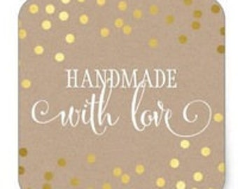 "24 PCS ""Handmade With Love"" Kraft Sticker, Seals, Scrapbook Supplies, Stationary, Paper, Paper Stickers, Stickers, Paper Supplies"