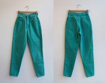 "Vtg 80s Turquoise Mom Jeans by Stefano 23.5"" Waist sz XXS"