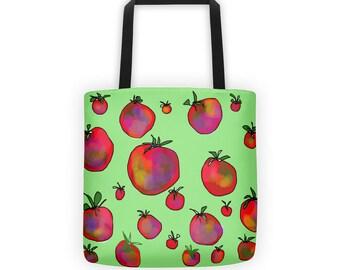 Bags, Totes, Cloth Bag, Heirloom Tomatoes Tote, Market Bags, Medium Bag, Cloth Bag, Reusable Bags