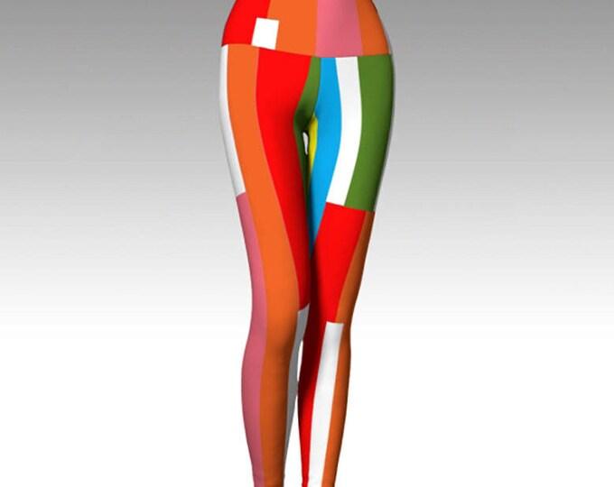 Fruit Stripe Leggings, Yoga Leggings, Printed Leggings, Women's Leggings, Boho Leggings, Leggings, Yoga Wear, Women's Clothing