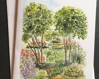 """Watercolor note card print. """"Tisha's  Garden"""". When painted this watercolor was painted in the plein air style, on location"""