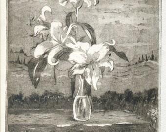 Lys flowers, original handmade etching