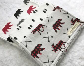 Woodland Burp Cloths - Rustic Burp Cloths - Bear - Moose - Pine Tree - Plaid Burp Cloths - Arrows - Baby Shower Gift