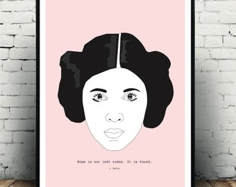Star Wars Princess Leia Carrie Fisher tribute wall art star wars poster for the home! a3 in size, remeber an icon! Makes a great gift!