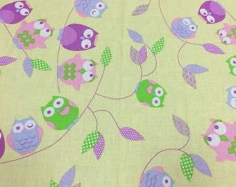 Fabric, owl print fabric, kids fabric, satin cotton fabric, Scandinavian Fabric, Scandinavian design