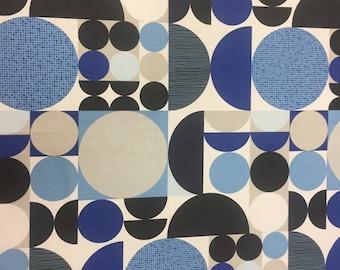 Blue cotton fabric, geometric circle fabric, modern style,Scandinavian design