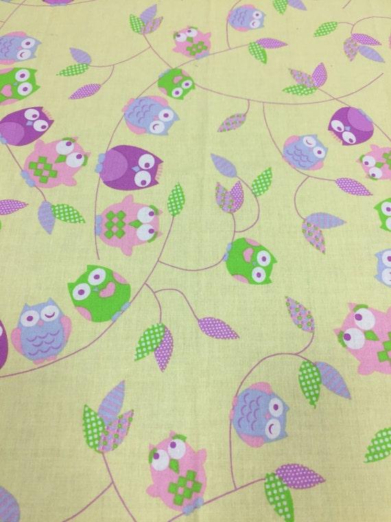 Fabric owl print fabric kids fabric satin cotton fabric for Kids cotton fabric
