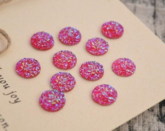 10 of 11mm faux druzy cabochons round resin pink cabochon SKUNN1