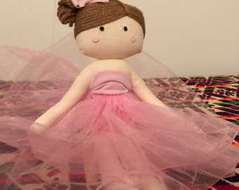 Ballerina Doll. Fabric Doll. Handmade rag doll. Rag doll. Baby doll. gift for girls. cloth doll. soft doll. ragdoll.