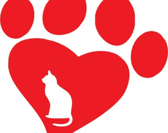Love Cat Decal-Paw Heart Decal