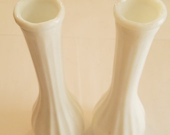 Carr-Lowrey Milk Glass Bud Vases - Set of Two
