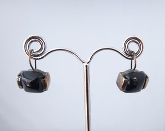 Silver earrings and Onyx stones