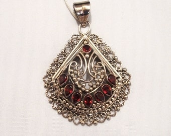 Antique garnet stone and silver pendant for necklace