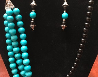 Miss Fifi - Turquoise & Black beaded necklace and earrings